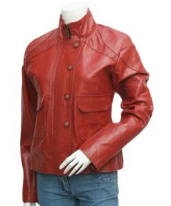 Antique Lovely Style Maroon Women's Leather Jacket