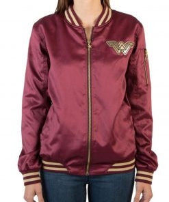 Wonder Woman Red Bomber Leather Jacket