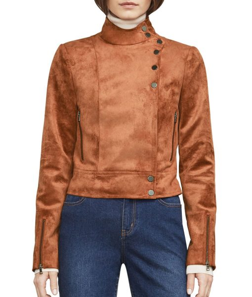 Asymmetrical buttoned Dinah Drake Arrow Suede Leather Jacket