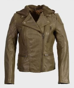Women's Olive Notch Collar Motorcycle Leather Jacket