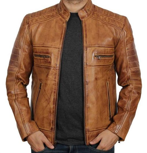 Biker Tan Quilted Mens Leather Jacket