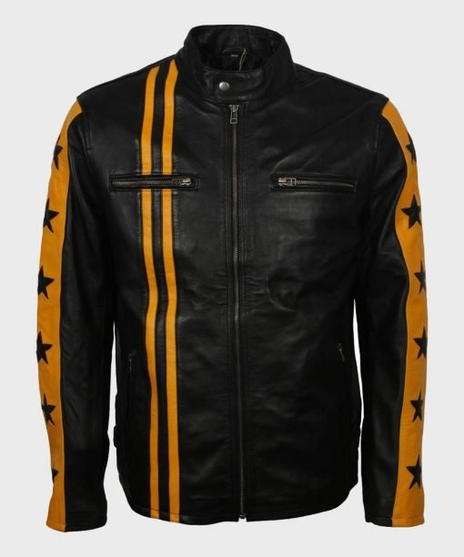Mens Cafe Racer Yellow Star Black Leather Jacket