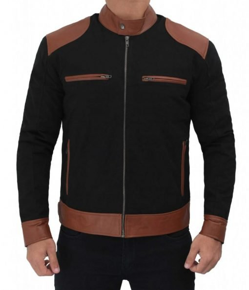 Mens Black Cotton Jacket With Patched Leather