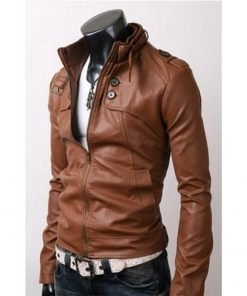 Button Pockets Slim Fit Rider Brown Leather Jacket with