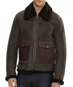 Men's Brown Bomber Shearling Leather Jacket with Fur Collar