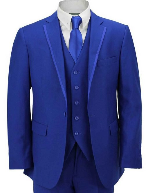 Mens Quilted Royal Blue Suit