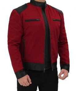Mens Padded Leather Red Cotton Jacket