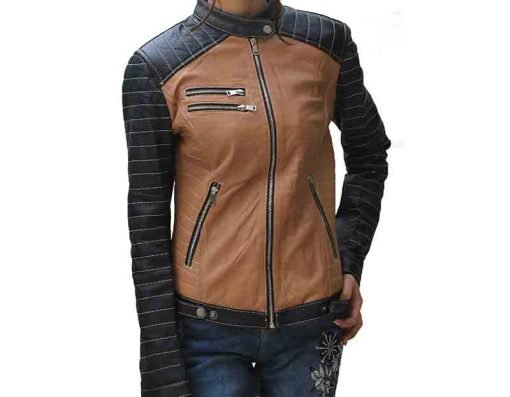 Cola Brown Women Leather Jacket