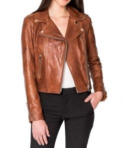 New Donna Hand-Waxed Leather Moto Jacket