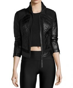 Mesh Leather And Quilted Moto Jacket