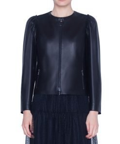 Lamb Perforated Leather Zip-Front Jacket