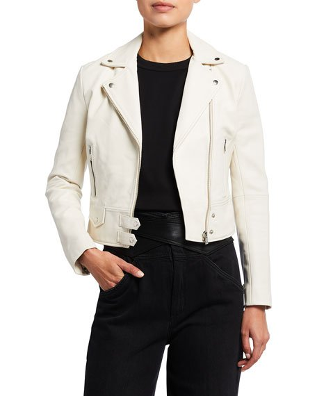 Zip-Front Motorcycle Real Leather Jacket