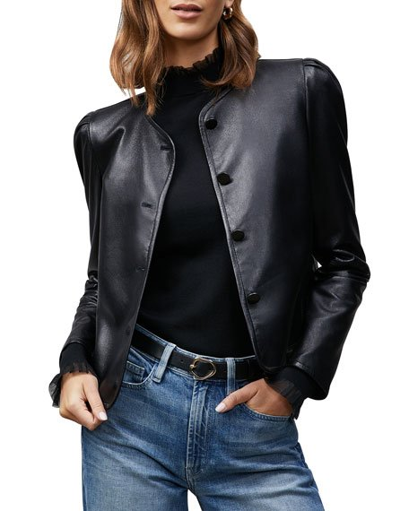 New York Scarlet Cropped Leather Jacket