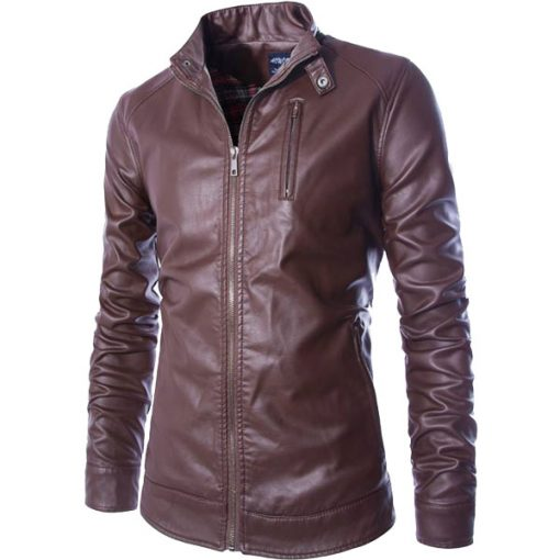Front Zip A Graceful Closure Leather Jacket