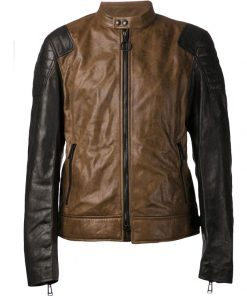 Dual Color Bomber Real Leather Jacket