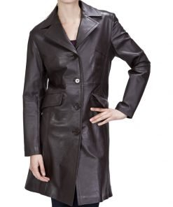 New A Discipline Women's Leather Walking Trench Coat