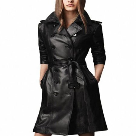 Women Black Double Breasted Long Trench Coat