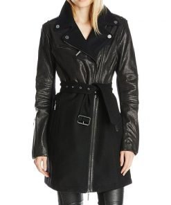 Wool Mixed And Leather Media Wool Long Coat