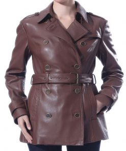 New Removable belt Trench Short Leather Coat