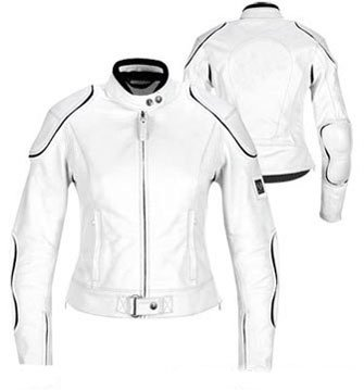 White Armored Motorcycle Leather Racing Leather Jacket
