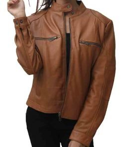 Sleeky Clean Tan Real Leather Jacket
