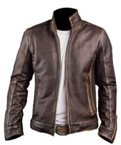 Stylish Distressed Café Racer Brown Mens Leather Jacket