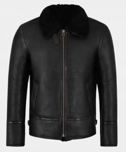 Black Luxurious Shearling Collar Leather Jacket