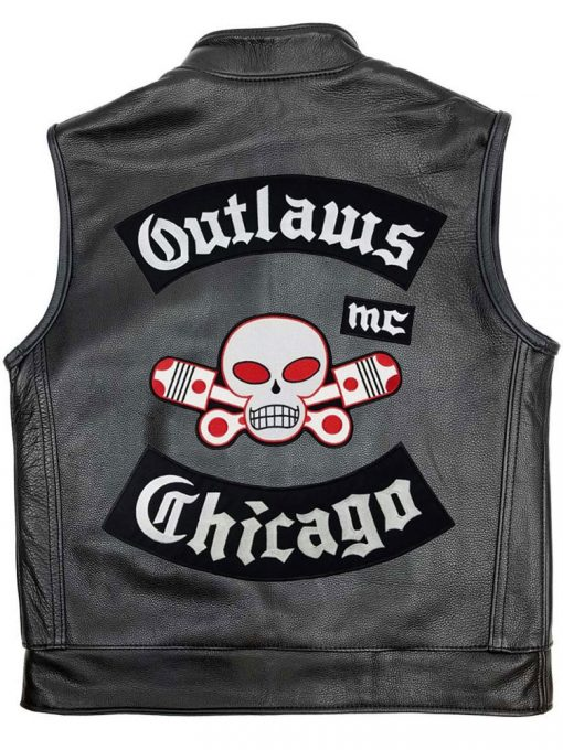 Chicago Outlaw MC Black Leather Motorcycle Vest