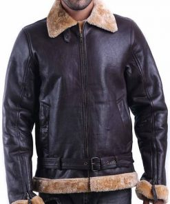 Tom Hardy Dunkirk Farrier Brown Shearling Bomber Leather Jacket