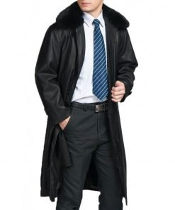 Men's Black Trench Leather Coat with Removable Fur Collar