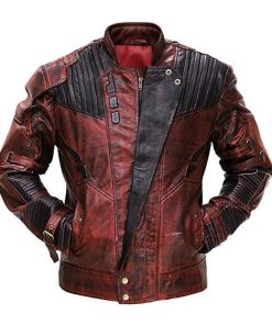 Guardians of Galaxy 2 Peter Quill Maroon Distressed Leather Jacket
