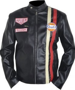 Mens Motorcycle Steve McQueen Gulf Le Black Leather Jacket