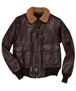 Bomber Style Elon Musk Brown Leather Jacket