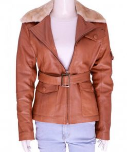 Amelia Earhart Night at The Museum Leather Jacket with Fur Collar