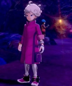 Pokemon Sword and Shield Bede Cosplay Pink Long Puffer Jacket