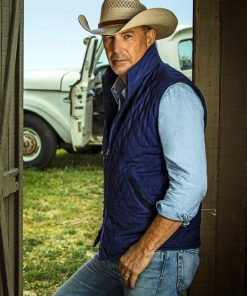 Kevin Costner Yellowstone Blue Cotton Blue Vest