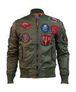 Ma-1 Top Gun Bomber Jacket With Patches