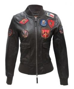 Womens Top Gun Bomber Vegan Leather Jacket With Patches