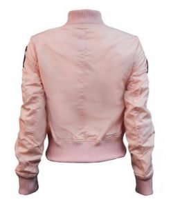 Womens Top Gun MA-1 Pink Jacket With Patches