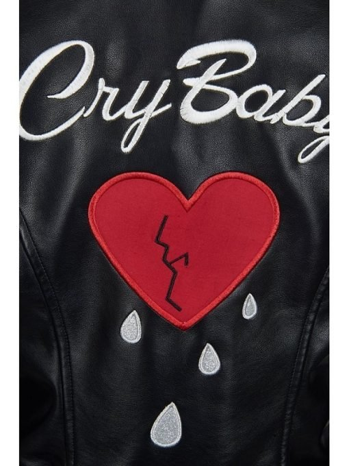 Motorcycle Cry Baby Women Black Leather Jacket