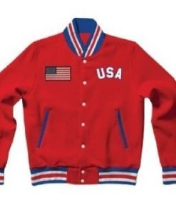 United States Letterman Red Cotton Jacket