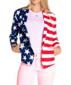 Women's Independence Day American Flag Blazer