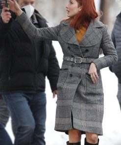 Don't Look Up Jennifer Lawrence Belted Checked Coat